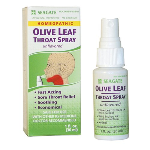 Seagate Olive Leaf Throat Spray Unflavored, 1-Ounce Boxes (Pack of 2)