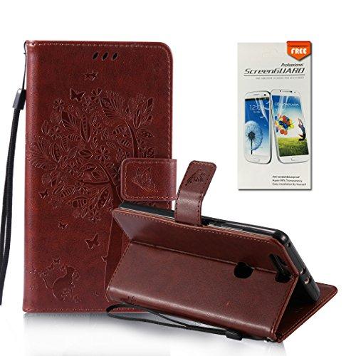 OuDu Funda Huawei Honor V8 Carcasa de Billetera Funda PU Cuero para Huawei Honor V8 Carcasa Suave Protectora con Correas de Teléfono Funda Arbol Flip Wallet Case Cover Bumper Carcasa Flexible Ligero U