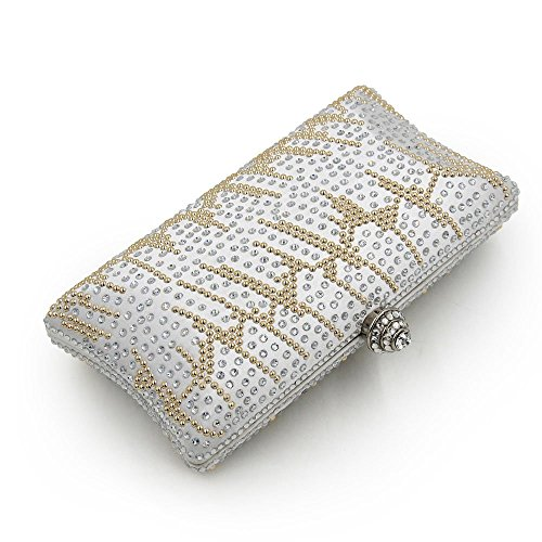 Silver Hand Bag FFLLAS Satin Party Fashion Hot Bag Evening Drilling Bridal Bag Diamond Bag Bag Girl Dress Set TSTxzrv