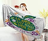 Cleansing Diet Before And After - Anniutwo Quotes,Bath Towel,Inspirational Artsy Apple Print for Motivation Clean Eating Diet Fresh and Healthy,Bathroom Towels,Green Purple Size: W 31.5