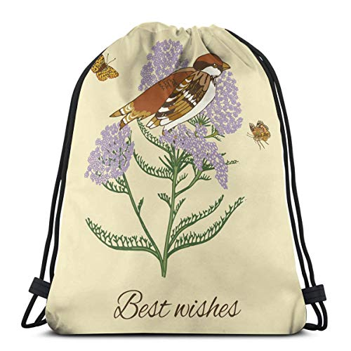 KIENGG Vintage Flower Sparrow Postcard Unisex Drawstring Beam Port Bag,Fashion Gym Outdoor Sports Portable Travel Backpack Dust Storage Shoulders Bags