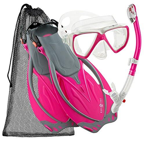 Aqualung Wave - Aqualung Sport Wave Snorkeling Mask Fin Snorkel Gear Set (Pink, Medium/X-Large)