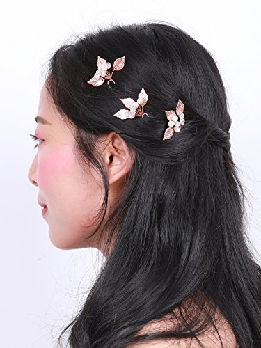 Missgrace Bridal Rose Gold Leaf Hair Pins Wedding Vintage Ha