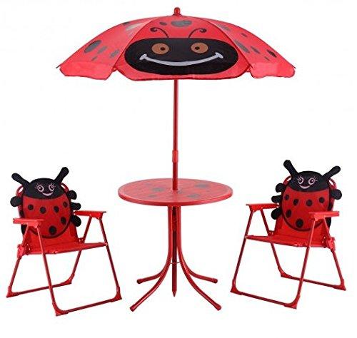 SKB Family Kidsパティオ折りたたみ式テーブルと椅子セットBeetle with Umbrella madeのオックスフォード布とスチール天然素材 B078PFQ1N7