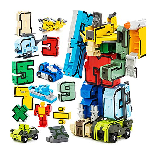 Ireav Numbers Transform Robots Toy - 15PCS Number Robot Puzzle,Creative Educational Math Counting Toy, Assembling Models Digit Mathematical Symbol Educational Toys