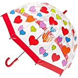 CLIFTON UMBRELLAS Hearts Design Kid Friendly PVC Birdcage Umbrella, Rainbow, One Size