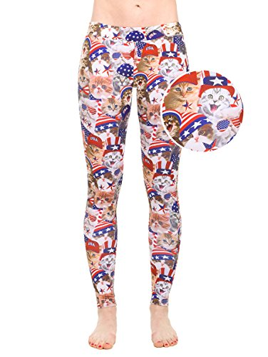 Womens American Flag Red White and Blue Leggings - Patriotic USA Tights