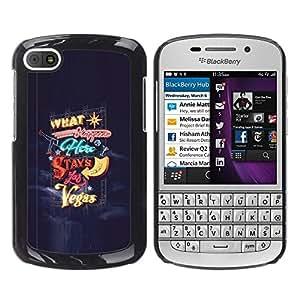 """For BlackBerry Q10 Case , Las Vegas queda en Las sucede luces azules"""" - Diseño Patrón Teléfono Caso Cubierta Case Bumper Duro Protección Case Cover Funda"""
