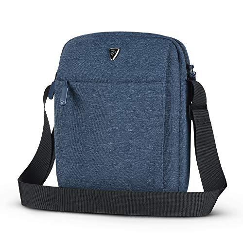 2E Shoulder Messenger Bag for Men and Women, fits 10 inch iPad and Tablets, Casual Canvas Handbag, Water Resistant, Melange Blue