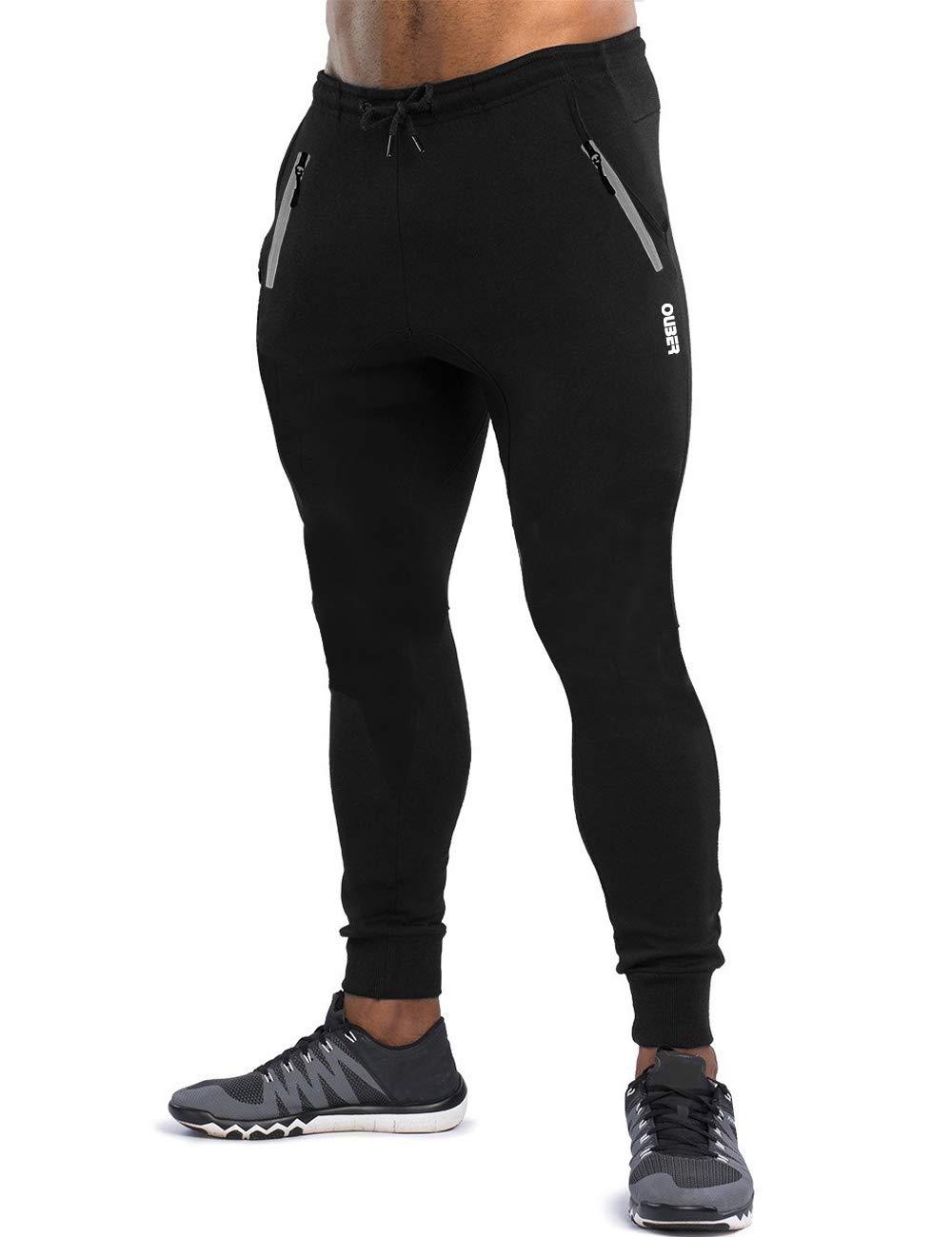 Ouber Men's Slim Fit Joggers Workout Sports Fleece Sweatpants for Gym Training (Black,S)