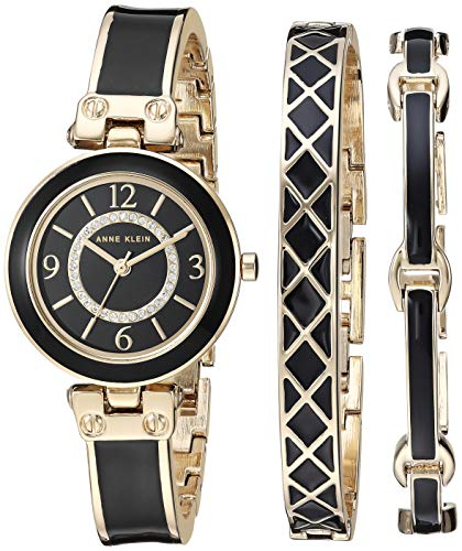 (Anne Klein Women's AK/3296BKST Swarovski Crystal Accented Gold-Tone and Black Bangle Watch and Bracelet Set)