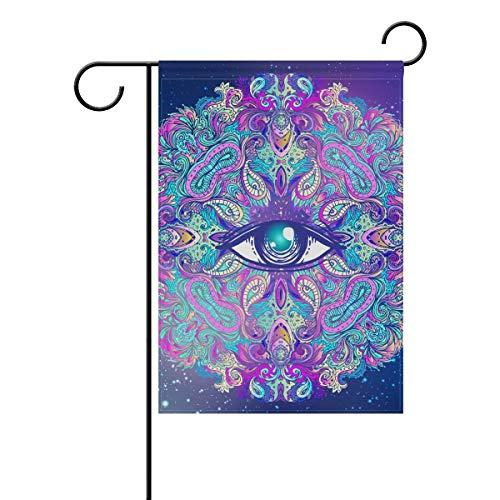 HUVATT Sacred Eyes Halloween Mandala Vintage Garden Yard Flag Banner for Outside House Flower Pot Double Side Print 28 x 40 -