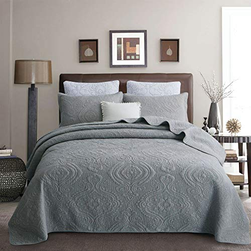 Brandream Luxury Gray Bedding Set 3 Piece Quilted Comforter Bedspread Quilt Set Queen Size 100% Cotton (Quilted Sets Bedspread)