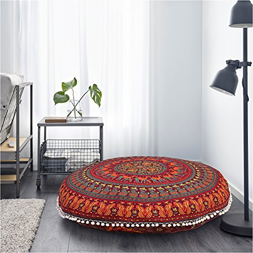 Large Round Pillow Cover Decorative Mandala Pillow Sham Camel and Peacock Designs Indian Bohemian Ottoman Poufs Cover Pom Pom Pillow Cases Outdoor Cushion Cover by Gokul Handloom