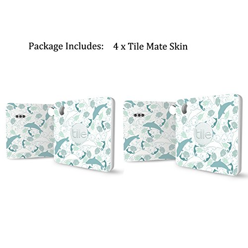 Logity Tile Mate Cover, Skin for Tile Mate, Tile Mate Bluetooth Tracker  Sticker, Tile Tracker Accessories, Non-stick Residue Design, Dolphin(4Pack)