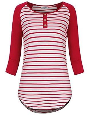 Faddare Womens Round Neck 3/4 Sleeve Stripe Tunic Raglan Sleeves T-Shirt Tops