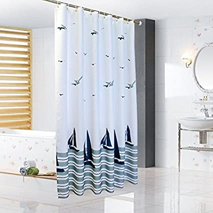 Ufatansy Uforme Beach Theme Boat Print Shower Curtain No More Mildews And Waterproof White