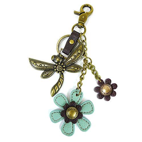 Charm Keychain Metal (Chala Bronze Color Metal- Purse Charm, Key Fob, keychain decorative accessories (Dragonfly-3))