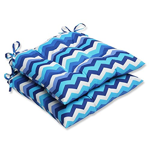 Set of 2 Rayas Azules Blue, Navy and White Chevron Striped Patio Wrought Iron Chair Cushions 19""