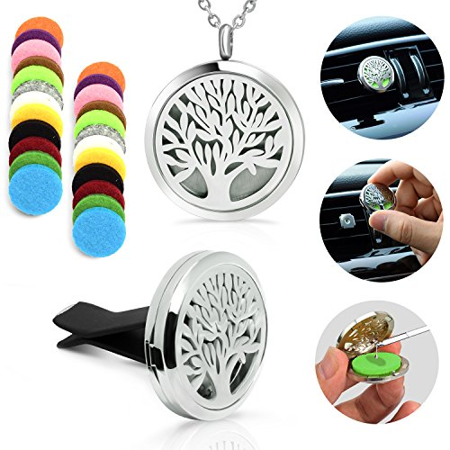 XIUDA Essential Oil Diffuser Necklace Stainless Steel Locket Pendant with Tree of Life Locket Perfume Necklace Gift Set(2Pack)