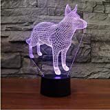 3D German Shepherd Dog Animal Night Light Touch Table Desk Optical Illusion Lamps 7 Color Changing Lights Home Decoration Xmas Birthday Gift