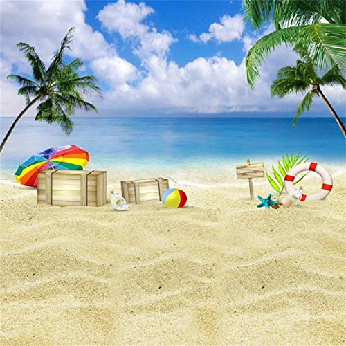 OFILA Tropical Beach Backdrop for Kids 5x5ft Photography Background Sandbeach Swim Ring Beach Ball Palm Trees Umbrella Starfish Seashell Summer Vacation Children Kids Baby Photographic Props]()