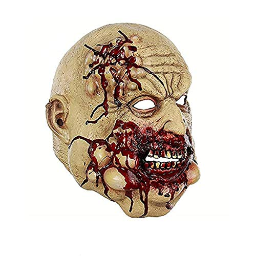 Scary Bloody Chef Latex Horror Old Man Mask Halloween Costume Masquerade Party Props for Adults Yellow-red -