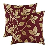 Pack of 2 CaliTime Soft Throw Pillow Covers Cases for Couch Sofa Home Decor, Cute Growing Leaves, 18 X 18 Inches, Burgundy
