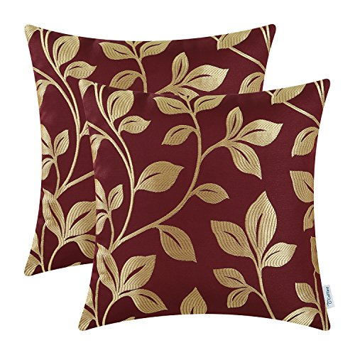 CaliTime Pack of 2 Soft Throw Pillow Covers Cases for Couch Sofa Home Decoration Cute Growing Leaves 18 X 18 Inches Burgundy/Gold ()