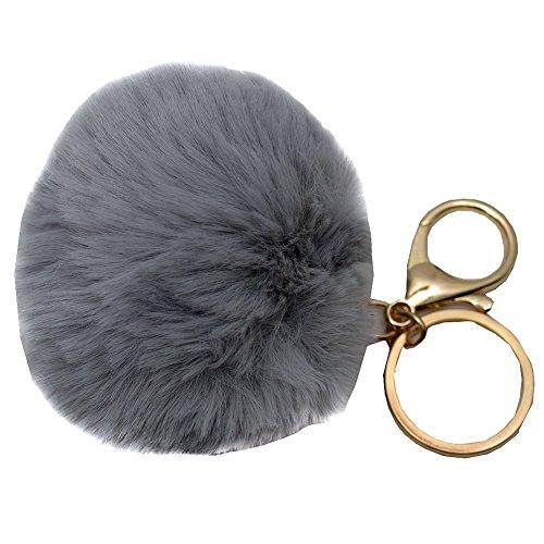 melie-bianco-girls-gray-faux-pom-pom-fluffy-keychain