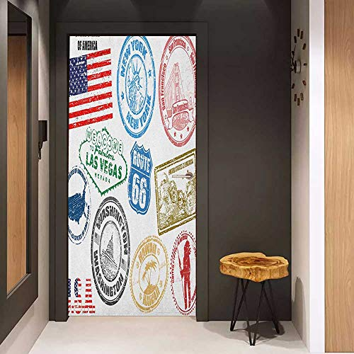 (Onefzc Pantry Sticker for Door United States Grunge Stamps of America Las Vegas New York San Francisco Hawaii Illustration Sticker Removable Door Decal W23 x H70 Multicolor)