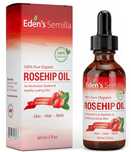 100% Pure Rosehip Oil - 2 OZ - Certified ORGANIC - Cold pressed & unrefined - NON Greasy HIGH absorbency - Use daily - Anti ageing, nourishes, hydrates and visibly reduces fine lines, scars, stretch marks and skin pigmentations - Suitable for all skin types - Eden's Semilla Essential Skin Care