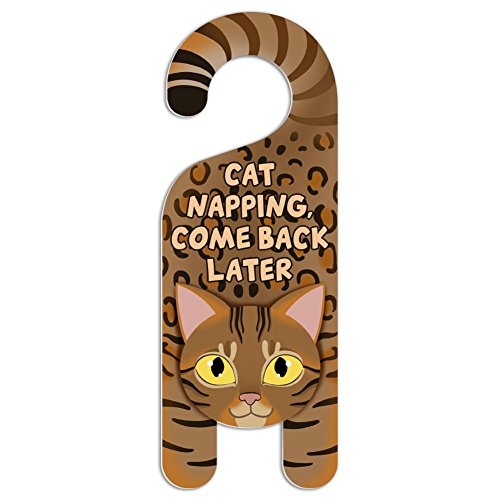 Graphics and More Bengal Cat Do Not Disturb Plastic Door Knob Hanger Sign - Cat Napping, Come Back Later