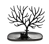 1Pcs PC Plastic Jewellery Display Stand - Tree Jewelry Holder Jewellery Storage Organizer for Rings Necklace Bracelet and More(Small-Black)