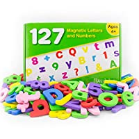Hominize Magnetic Letters and Numbers for Toddlers - Premium Set of 127 Alphabet Magnets - Extra Large