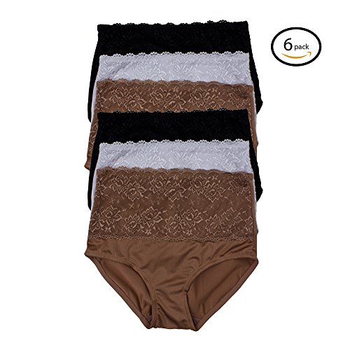 Kathy Ireland Womens 6 Pack Lace Trim Elastic Waist Shaping Brief Panties Tan/White/Black - Lace Brief Shaping