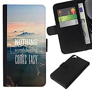 - NATURE NOTHING MOUNTAINS EASY COMES - - Prima caja de la PU billetera de cuero con ranuras para tarjetas, efectivo desmontable correa para l Funny House FOR HTC Desire 820
