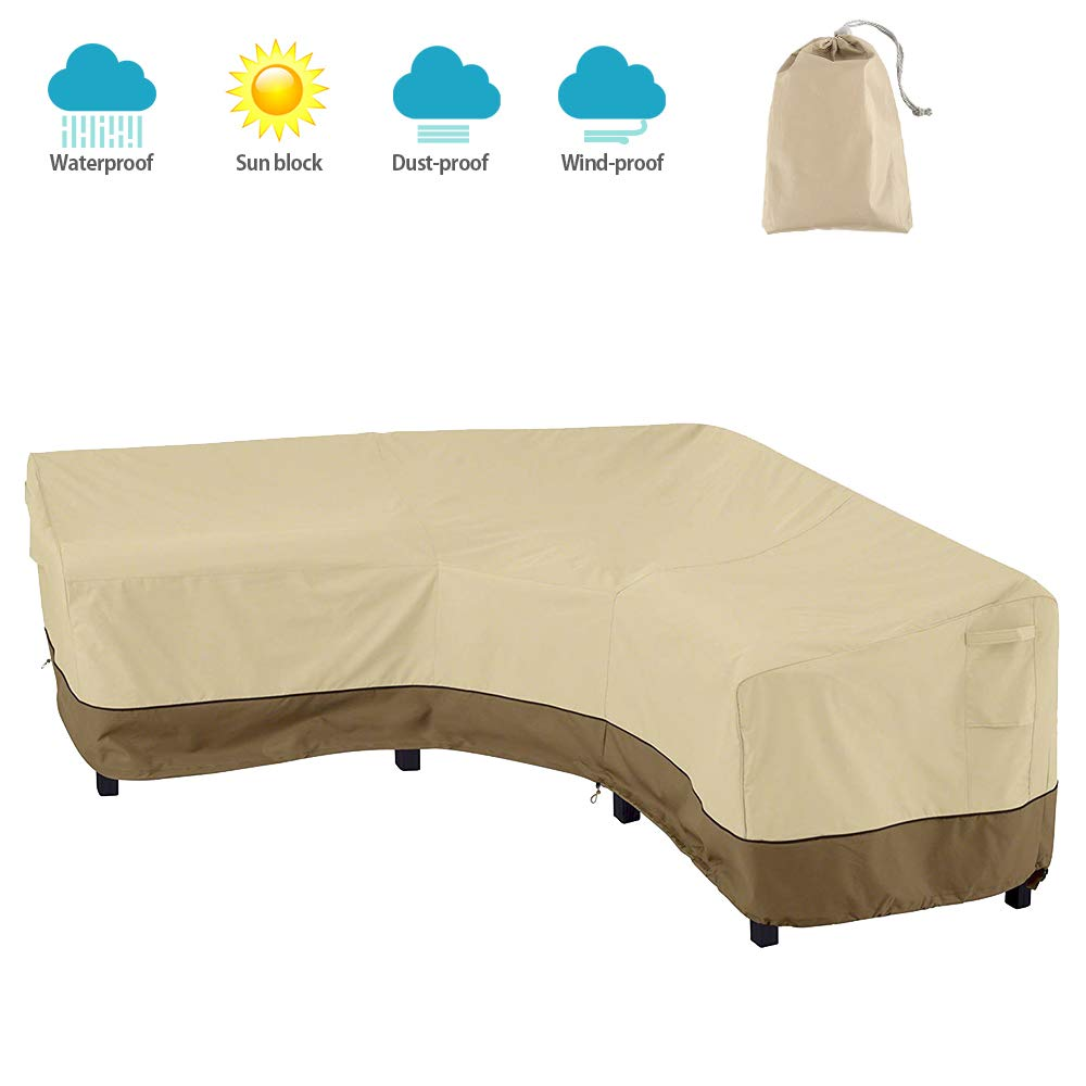 willstar V Shaped Patio Sectional Sofa Cover Upgrade 420D Waterproof Dustproof Outdoor Furniture Cover Garden Couch Cover V Shaped, Beige