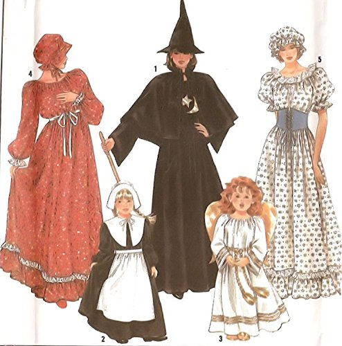 1995 Simplicity Sewing Pattern 9982. Girls Sizes 2/4; 6/8; 10/12 Costumes: Early American; Prairie; or Colonial Dress & Bonnet/cap; Witch/wizard; Pilgrim; (Pilgrim Costume Pattern)