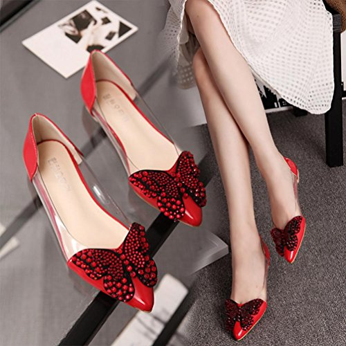 Hemlock Women Flats Sandals Pointed Toe Boat Shoes Slippers Soft Office Sandals (US:7.5, Red)