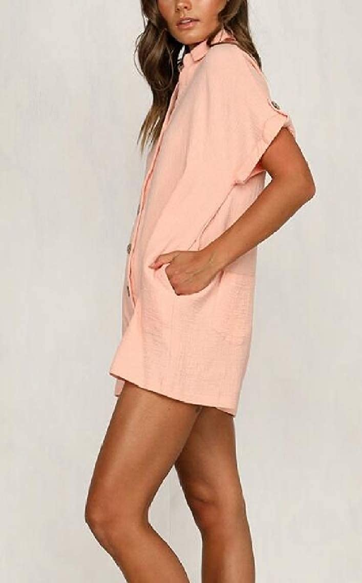 Fubotevic Womens Casual Button Up Short Sleeve Pockets Short Romper Jumpsuits