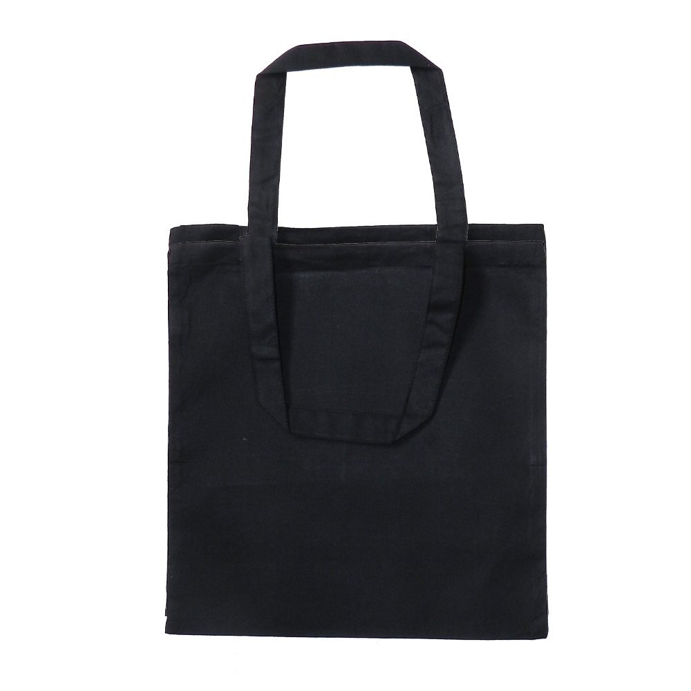 Black Cotton Canvas Tote Bag 15 X 16 Flat No Gusset Shopping Bag, Craft Bag, Beach Bag, Grocery Bag, Travel Bag, Tote Bag for School, Book Bag, Diaper Bag (1, Black) by Q-Tees of California B01G7D2GXC ブラック|1 ブラック