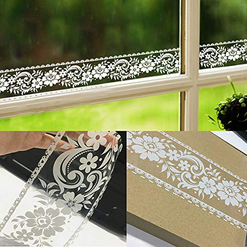 Adhesive White Lace Transparent Rustic Floral Pattern Wall Molding Peel Stick Wall Border Decorative for Window Mirror Bathroom Kitchen,4 inch by 32.8 feet. (White Foral1)