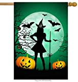 ShineSnow Funny Witch Broomstick Pumpkin House Flag 28″ x 40″ Double Sided, Polyester Ghost Halloween Forest Welcome Yard Garden Flag Banners for Patio Lawn Home Outdoor Decor
