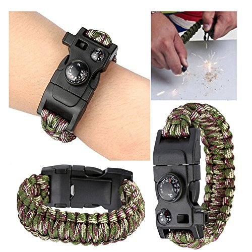 Botrong Camping,Hiking good helper! Survival Bracelet Outdoor Paracord Flint Fire Starter Scraper Whistle Gear (Halloween Row 14 2017)