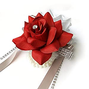 Angel Isabella Open Rose Wrist corsages with Pearl Wristband for Wedding,Prom,Dance,Homecoming. Atificial Flower (White/Apple Red) 100