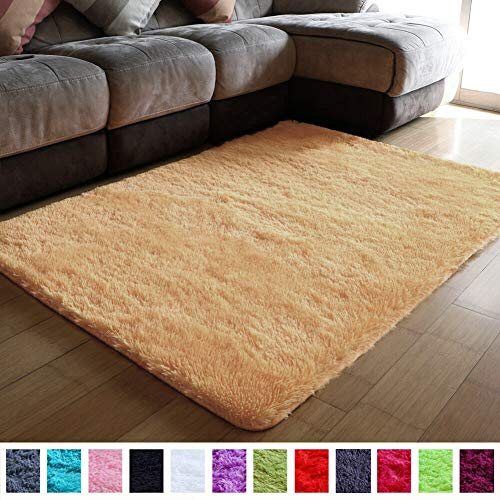 PAGISOFE Super Soft Shaggy Accent Area Rug Plush Rugs Carpets for Living Room Bedrooms Kids Nursery Home Decor Fluffy Shag Dining Floor Carpets Silky Fuzzy Fur Rug 5x4 Feet (Dark Yellow) (Rugs Bright Area)