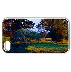 Autumn Painting - Case Cover for iPhone 4 and 4s (Lakes Series, Watercolor style, White)