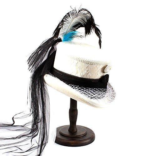 Y Para Gótico Mujer Haoweiwei Blanco Victoriano color Blanco De Sombrero Pluma Con 59cm Novia Negro Corsé Hilado Encaje Marfil Tamaño w8B8q14XOx