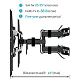 "Everstone TV Wall Mount Fit for Most 23""-65"" TVs Dual Articulating Arm Full Motion Tilt Swivel Bracket 14"" Extension Arm,LED,LCD,OLED& Plasma Flat Screen TV,Curved TV,Up to VESA 400mm,HDMI cable"